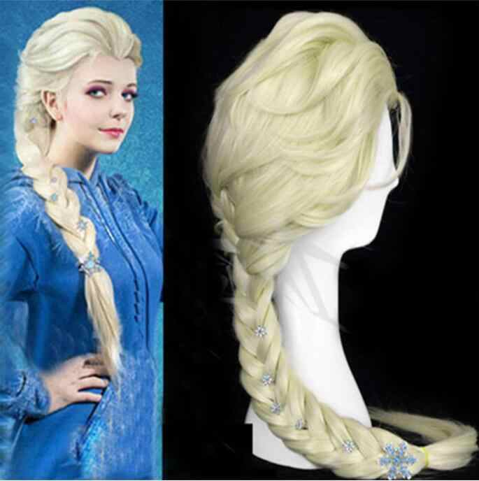 Disney Princesa Congelado Snow Queen Elsa Weaving Braid peruca Loiro Claro Peruca Cosplay