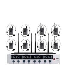 Frete grátis Sistema de Microfone Sem Fio ETJ U802 Microfone Profissional Dinâmico Canal 8 8 Fone de Ouvido + Microfone de Karaokê