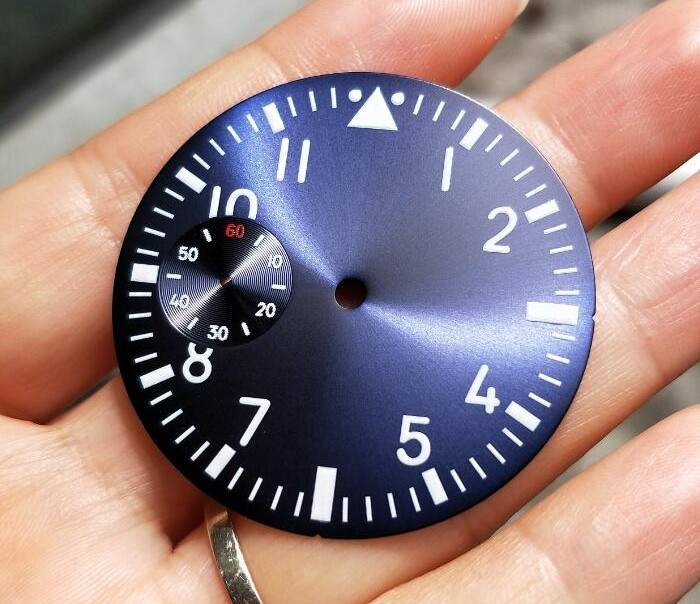 38.9mm GEERVO fashion sterile luminous Number blue Five dial fit 6497 movement Men's watch dial 010A