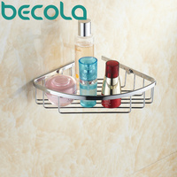 Free shipping BECOLA Wall Mounted Chrome Brass Bathroom accessories Basket Bath Shower Shelf Basket B 6701