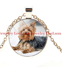 Popular pendant yorkie buy cheap pendant yorkie lots from china yorkie necklace yorkshire terrier cute dog pendant glass photo dog gift for children dog lover aloadofball Choice Image
