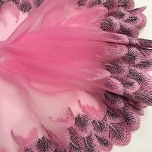 21 cm h629 organza pavão colorido laço casamento bordado diy artesanal retalhos guarnição do laço fita para costura suprimentos artesanato