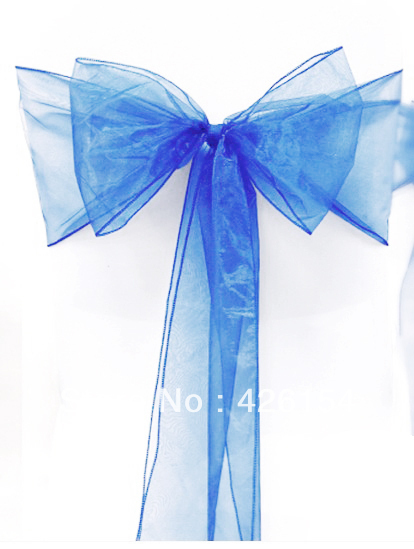 Free Shipping 100pcs new royal blue sparkle organza chair decorations sash bow wedding party banquet decoration  partydecoration