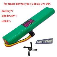 3pcs HEPA Filter Side Brush Battery 4500mAh 12V Ni MH Cleaner Battery For Neato BotVac 70e