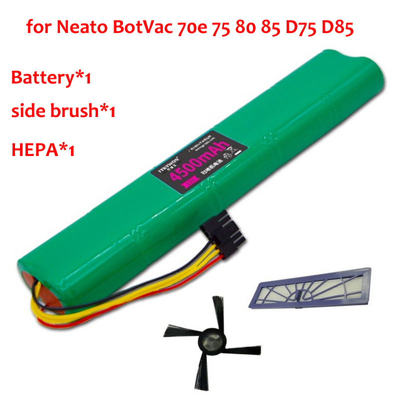 3pcs HEPA Filter+side brush+ Battery 4500mAh 12V Ni-MH Cleaner Battery for Neato BotVac 70e 75 80 85 D75 D85 Vacuum Cleaners 4x silicone blades 4x brush 1x beater bearing replacement for neato botvac 70e 75 80 85 automatic vacuum cleaner robots