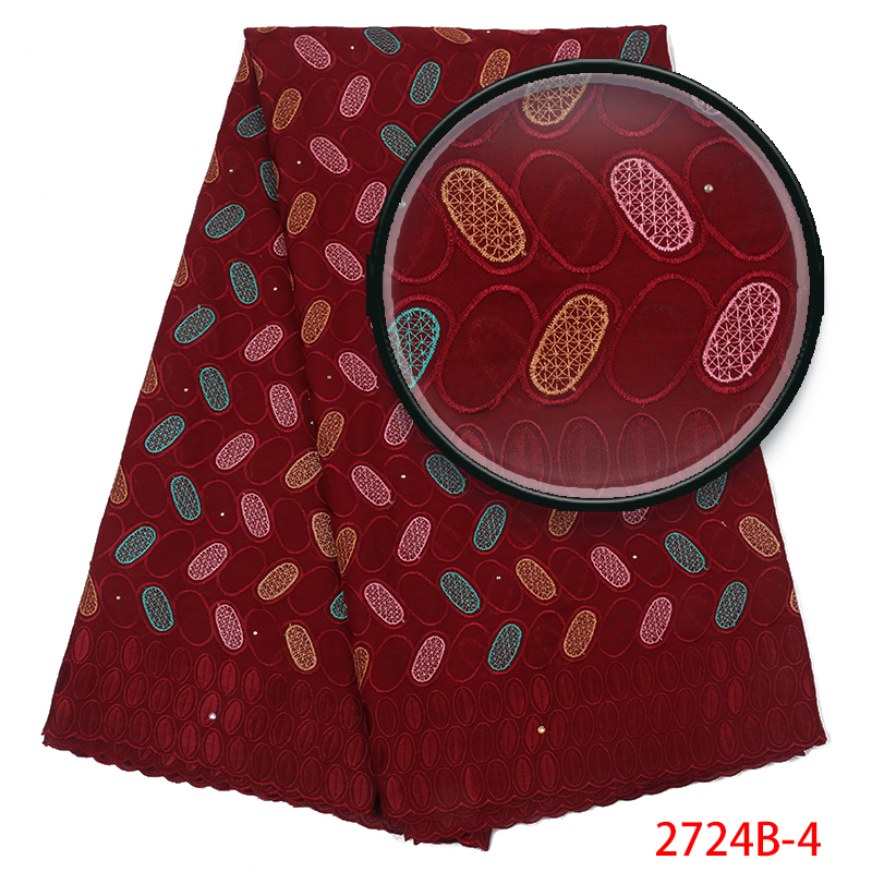 New Design Nigerian Lace Fabric Fashion African Kano Cotton Hot Sale Swiss Voile Lace In Switzerland For Wedding KS2724B-4