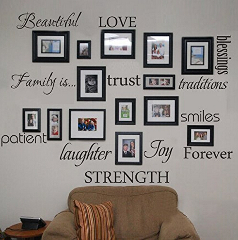 Family Words Wall Decal Set Of 12 Love Trust Blessing Smile Quotes Vinyl Wall Sticker Picture