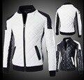 НОВЫЕ Люди случайные аргайл лоскутное цвет блока тонкий пиджак плюс размер стенд воротник мотоцикл кожа одежда певица костюмы пальто