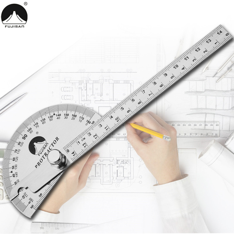 0-180 Degree Angle Ruler Round Head Rotary Protractor 145mm Adjustable Universal Stainless Steel Measuring Tool thinkthendo all size anti arthritis memory foam sport shoe insoles unisex for men and women