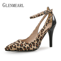 Women Pumps High Heels Ankle Strap Shoes Feamle Casual Fashion Leopard Pointed Toe Ladies Shoe Wedding Thin Heel Plus Size Shoe