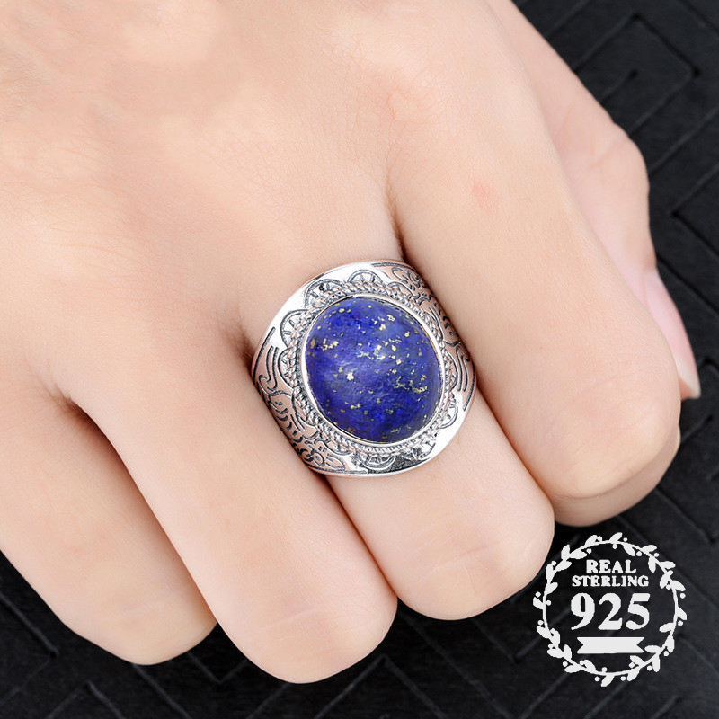 12*14mm NOT FAKE S925 Sterling Silver Asia Lapis Rings Exaggerated Rings upper class Afghanistan  Retro Gemstone12*14mm NOT FAKE S925 Sterling Silver Asia Lapis Rings Exaggerated Rings upper class Afghanistan  Retro Gemstone