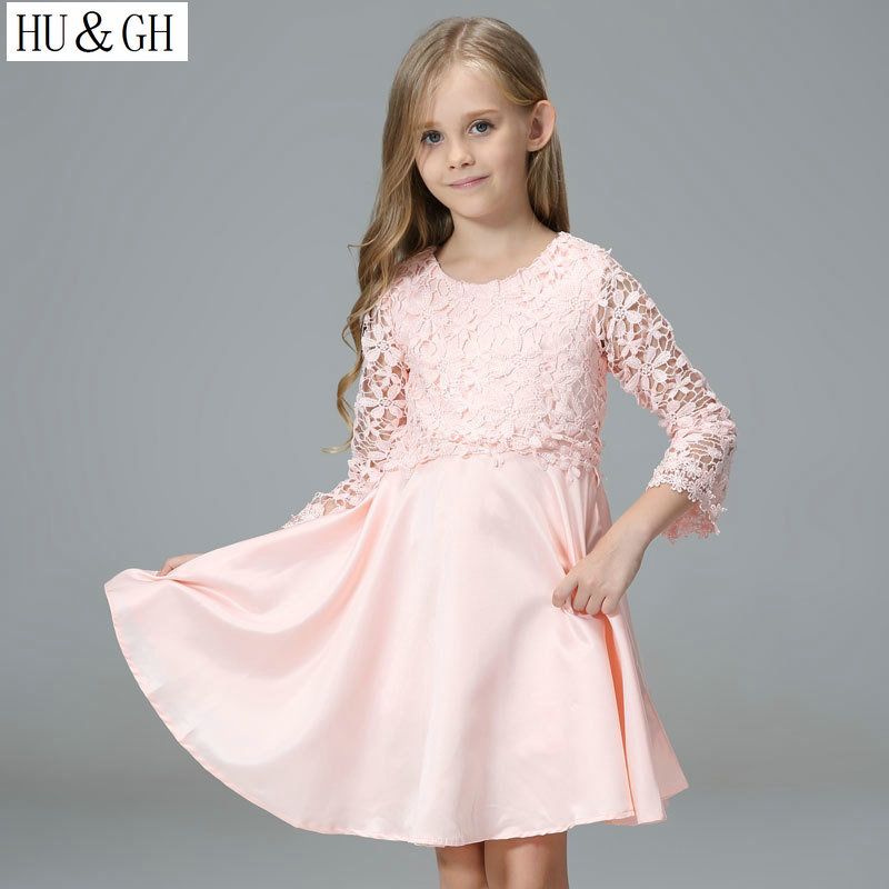 HU&GU 2017 dress for girls summer solid lace flower kids dresses for weddings O-Neck ball gown knee-length children's dress женское платье summer dress 2015cute o women dress