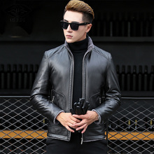 MUDI Leather Jacket Men Coats Brand High Quality PU Outerwear Men Business Winter Slim Fit Male Jacket Short Stand Collar Jacket