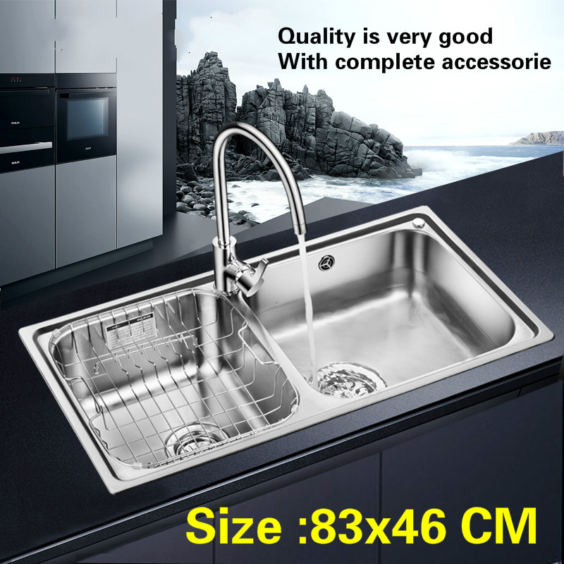 Free shipping Household standard big kitchen double groove sink food grade 304 stainless steel whole drawing hot sell 83×46 CM