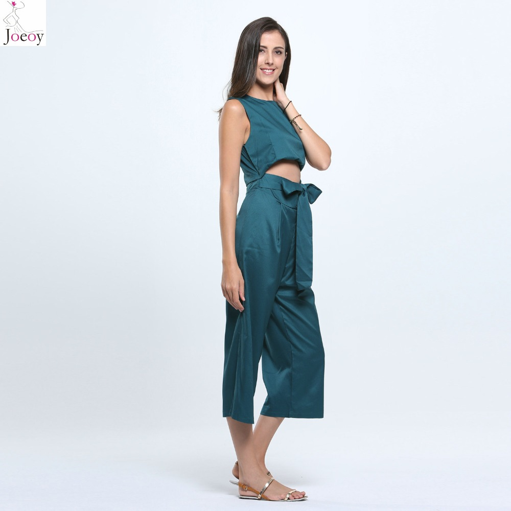 bc042c1cc0a Women Black Green Open Belly Bowknot Detail Cropped Wide Leg Jumpsuit 2016  Spring New Casual Solid Summer Bodysuit Plus Size-in Jumpsuits from Women s  ...