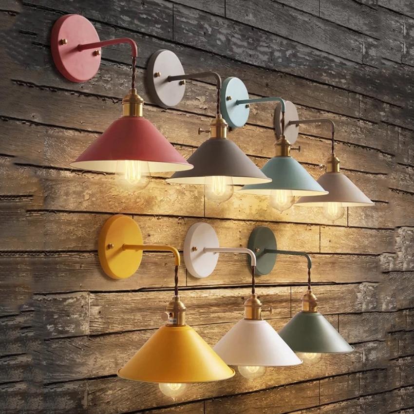 7 カラーマカロンシンプルな錬鉄製の壁リビングルームのベッドルーム、ホット販売階段ライトレストラン飾る壁ライト -