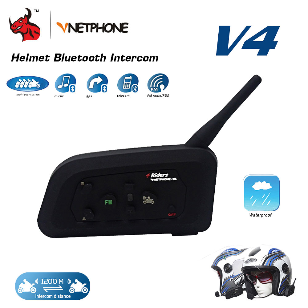 VNETPHONE 1200M BT Motorcycle Helmet Bluetooth Headset Interphone 4 Riders Fully Duplex Wireless Communication Intercom