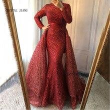CRISTAL JIANG Haut Cou Vin Rouge Dentelle Custom Made Musulman Manches Longues Sirène Formelle Robes De Soirée 2018