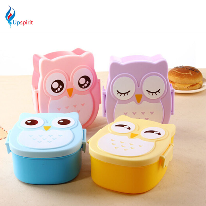 high quality owl lunch bento box plastic food container cartoon tableware dinnerware cutlery set. Black Bedroom Furniture Sets. Home Design Ideas