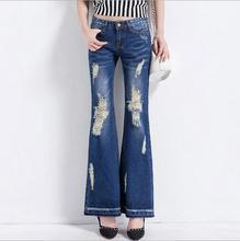 Новая Мода женщины джинсовый Flare Брюки Карман Джинсовой Femme Брюки Рваные Джинсы Для Женщин джинсы Отверстие T405