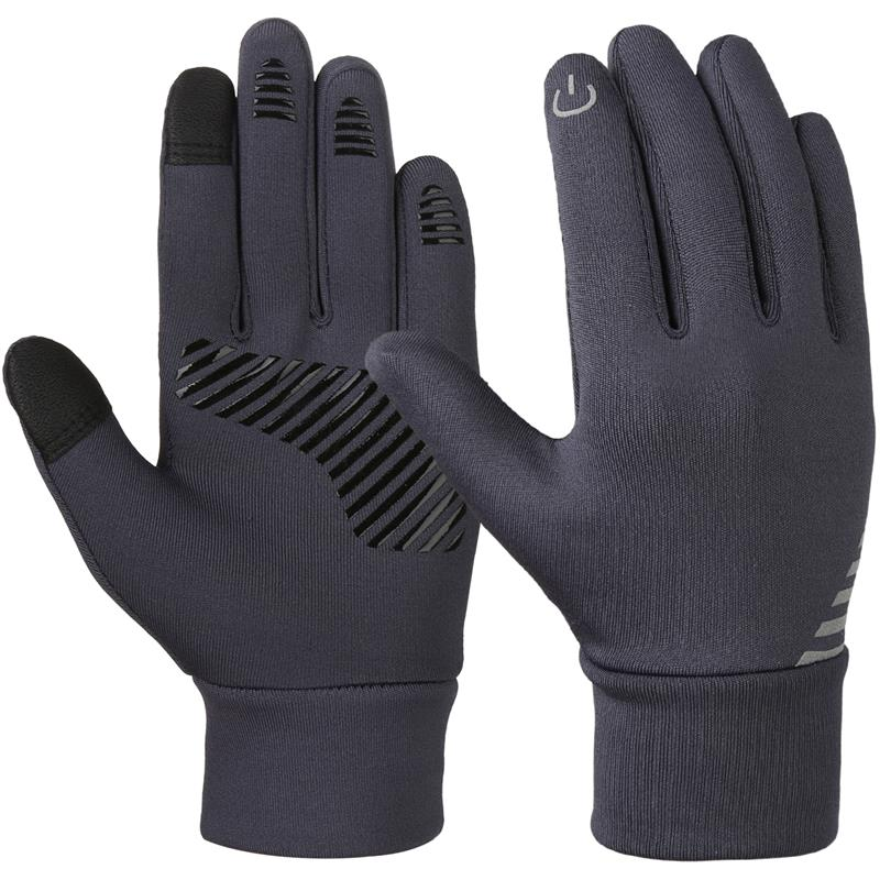 Vbiger Grey 4-10 Years Old Kids Winter Gloves Anti-skid Touch Screen Gloves Soft Outdoor Sports Cold Weather Gloves