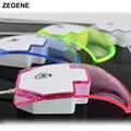 Top Venda Transparente Levou Luz Azul Bonito Mouse USB Mouse Óptico Com Fio Ratos Para Computador Desktop PC Portátil + Retail caixa de Vídeo