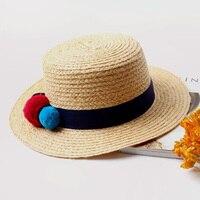 2016 Moda Lato Lafite Trawy Kolor Czapki Osobowości Beżowy Sun kapelusze Dla Kobiet Red Ball Dekoracji Słomkowe kapelusze 8467