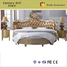 High-end villa clubhouse European paper art circle bed French paint customize solid-wood beds