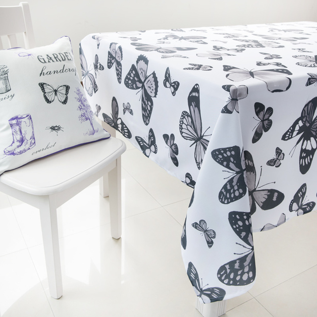 Black and White Butterfly Tablecloth Dining Table Cover Set Rectanglar Table Cloths For Wedding Modern Style Free Shipping