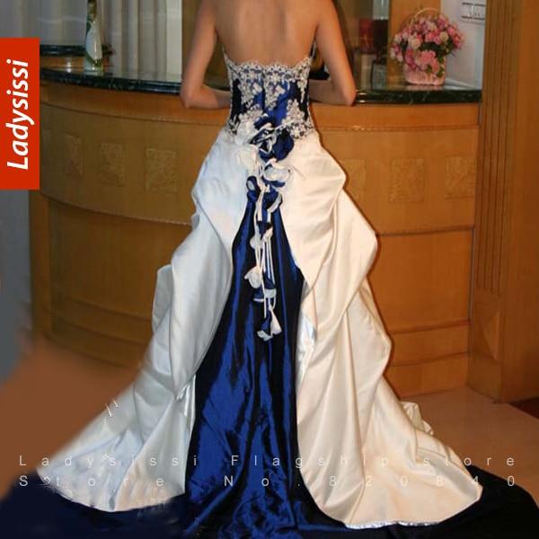 Wedding Dress White And Blue: 2014 Luxury Senior Sapphire Blue And White Wedding Dress