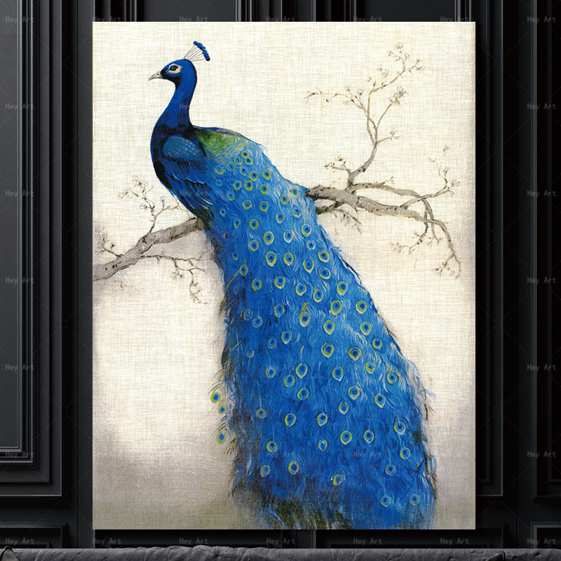 Animal Pictures for Wall Posters and Prints Peacock Canvas Painting Frameless Printing Abstract Wall art Living Room Decor in Painting Calligraphy from Home Garden