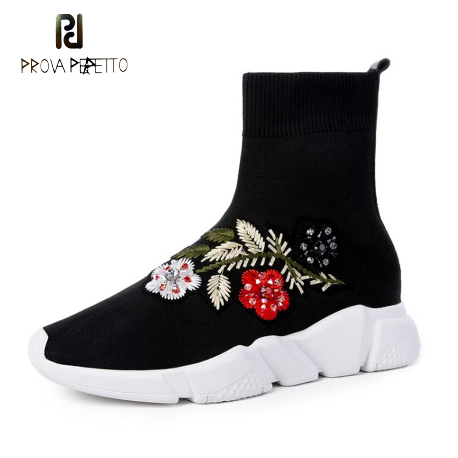 Prova Perfetto fashion embroider women stretch knit sock boot crystal decor flower slip on flat ankle boots 4 model sneaker shoe 2017 new fashion designer casual espadrilles flat women spring printed white flower embroider slip on fishermen hemp rope shoe