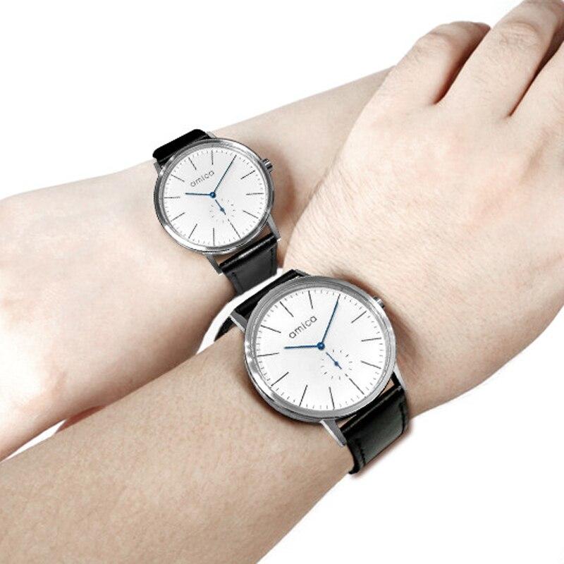 AMICA 2019 Роскошные модные коллокации чехол тонкие кварцевые часы для влюбленных женские часы цифровые военные мужские кварцевые часы A14