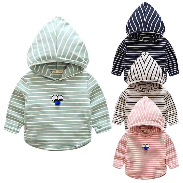 Menino bonito casaco com capuz de algodão longo da luva da criança tops listrado roupa dos miúdos dos meninos hoodies com olhos meninos clothing primavera 2017 outono