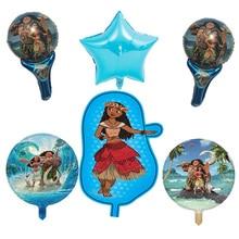 6 pcs Moana balões folha balões de ar decorações da festa de aniversário dos miúdos brinquedos Infláveis do Dia das Crianças fontes do partido Moana