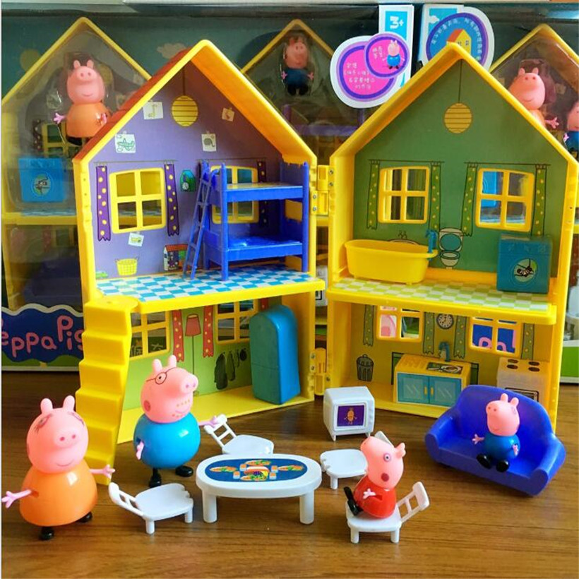 Peppa Pig George Dad Mom Family Pig House Villa Toys Set Action Figure Model Pelucia Toys For Children