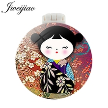 JWEIJIAO Russia Doll Cartoon Pocket Mirror With Massage Comb Children Compact Portable Make up Mirrors and Comb Beauty Tools 1 pc fashion cartoon anti val draagbare kleine spiegel leuke meisjes make upspiegel pocket spiegel voor beauty tools