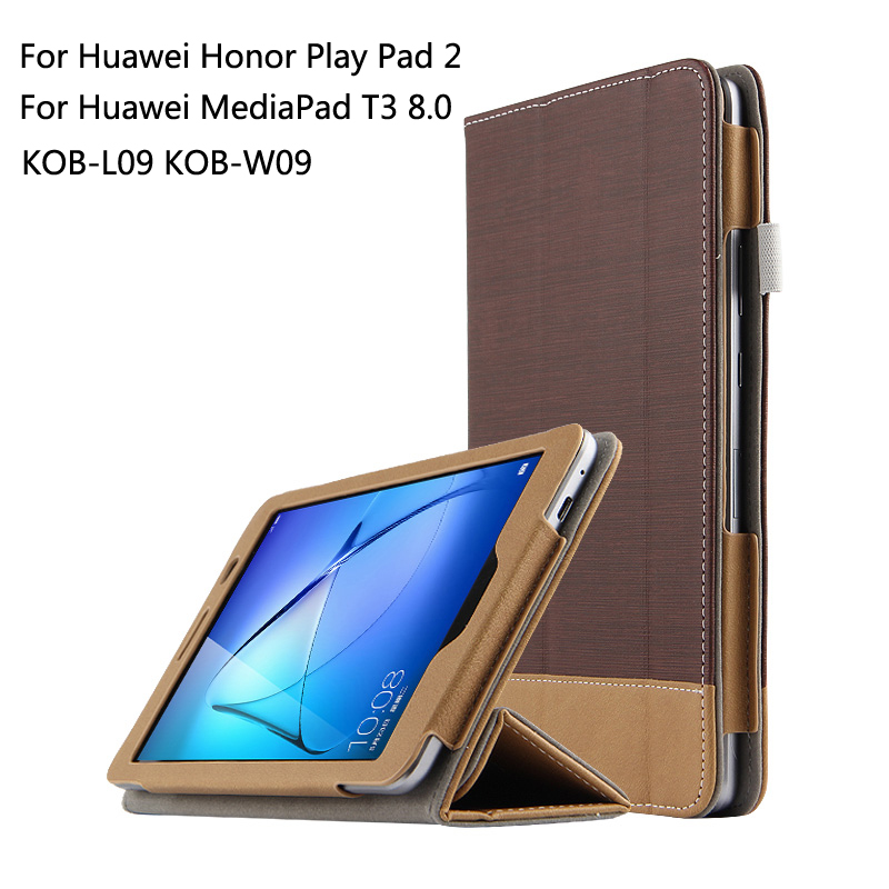 For Huawei MediaPad T3 8.0 KOB-L09 KOB-W09 for Honor Play Pad 2 Ultra Slim Canvas Folio Stand PU Leather Case Cover + Gift for huawei mediapad t3 8 0 kob l09 kob w09 case ultra thin design case tpu silicone transparent matte cover honor juego pad 2 8