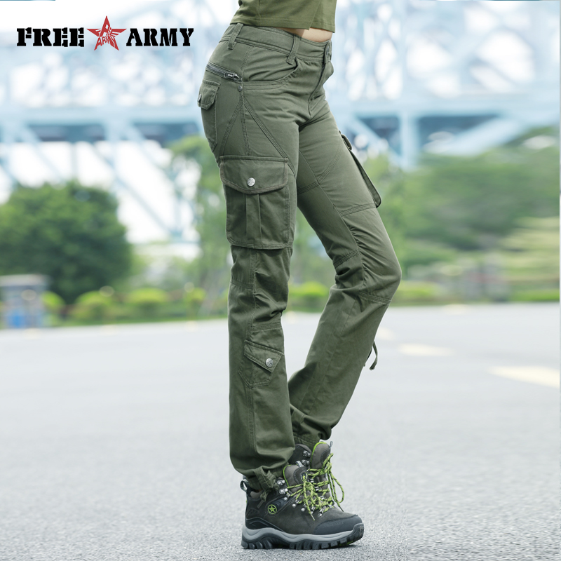 Mid-Waist Pockets Trousers 100%Cotton Casual Women Pants Military Cargo Pants Trousers Brand Zipper Sweatpants Capris Female