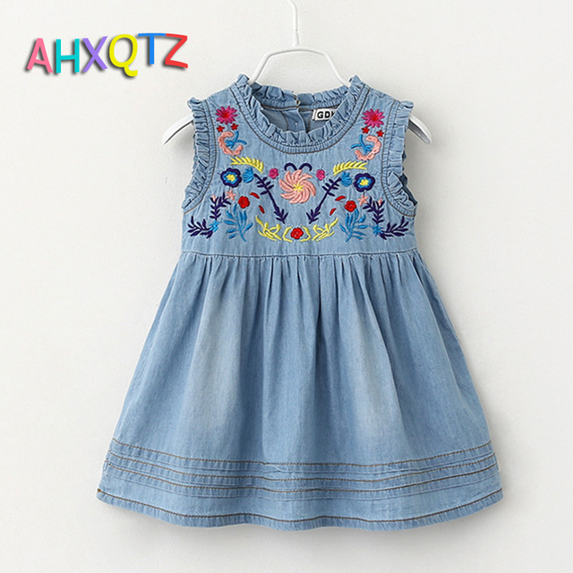 3 7 Years Children High Quality Embroidery Designs Kids Dresses For