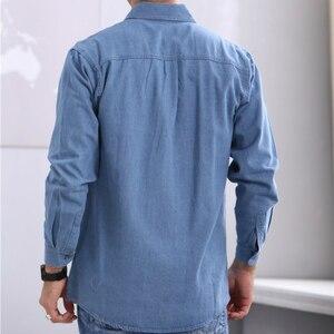 Image 4 - 2019 חדש אביב ובסתיו גברים של אדמה slim ארוך שרוולים גודל גדול חולצת ג ינס ארוך שרוולים דק מעיל