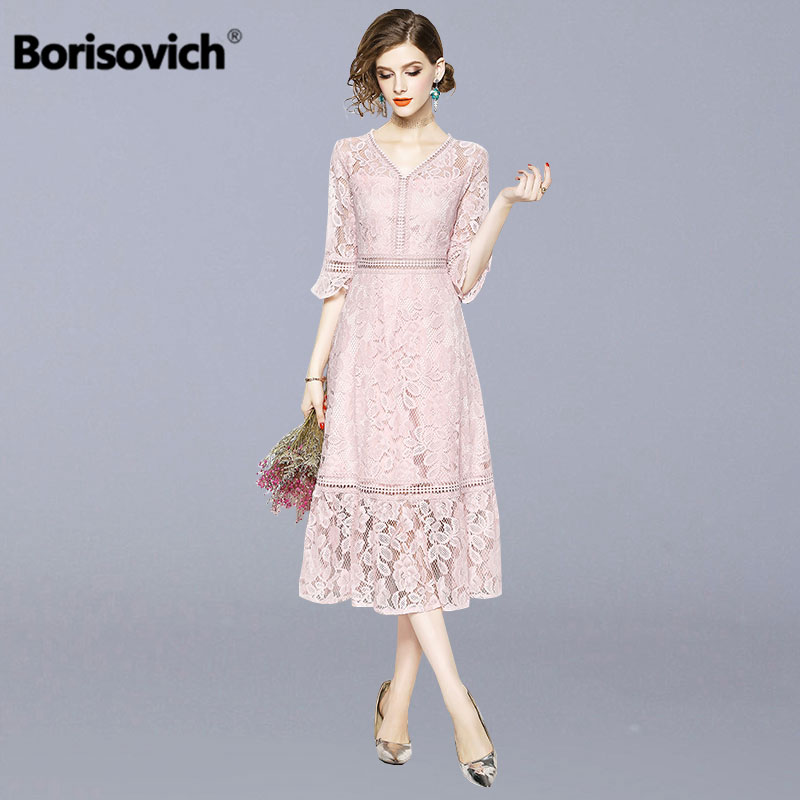 Borisovich Luxury Lace Ladies Elegant Party Dress New 2019 Spring Fashion V neck Flare Sleeve Women
