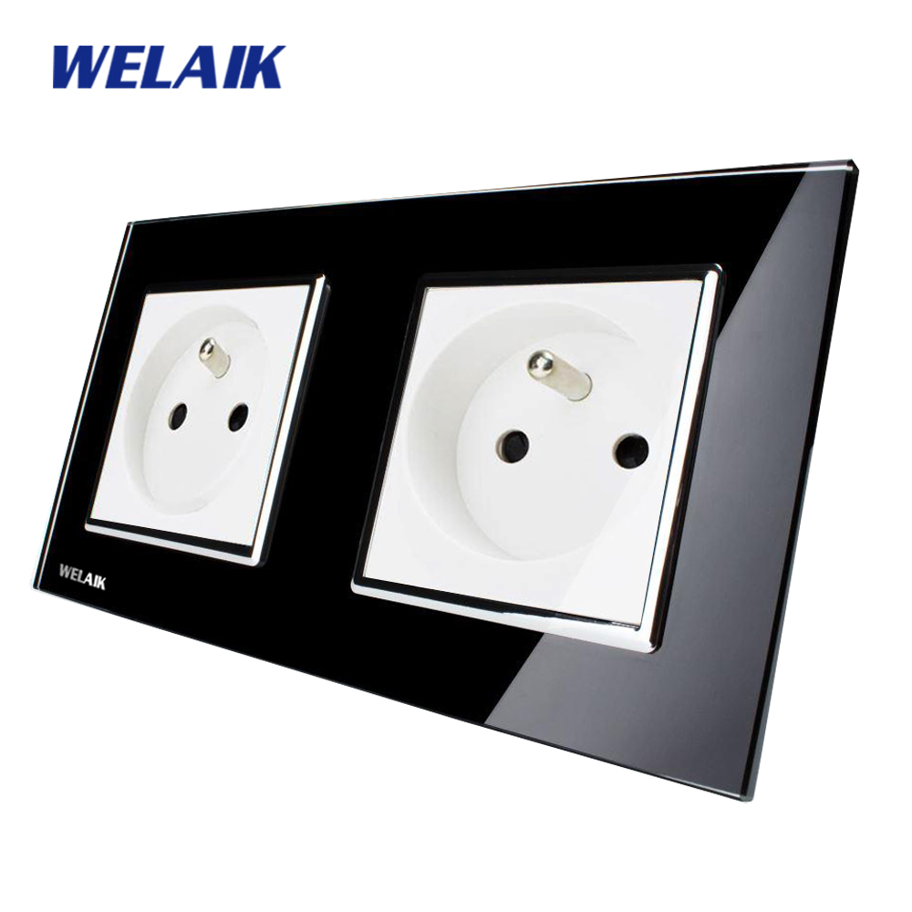 WELAIK  Glass Panel EU Wall Socket Wall Outlet  Black French Standard Power Socket AC110~250V A28F8FB dixinge high quality brand german standard socket wall socket tv outlet silvery were pc material panel b120 l134