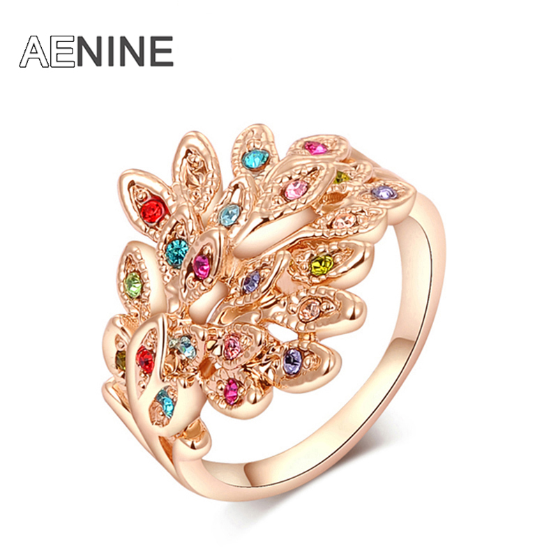 AENINE Fashion Ring Phoenix Rose Gold Color women trendy party jewelry Christmas gift Austrian crystal wholesale L2010009290