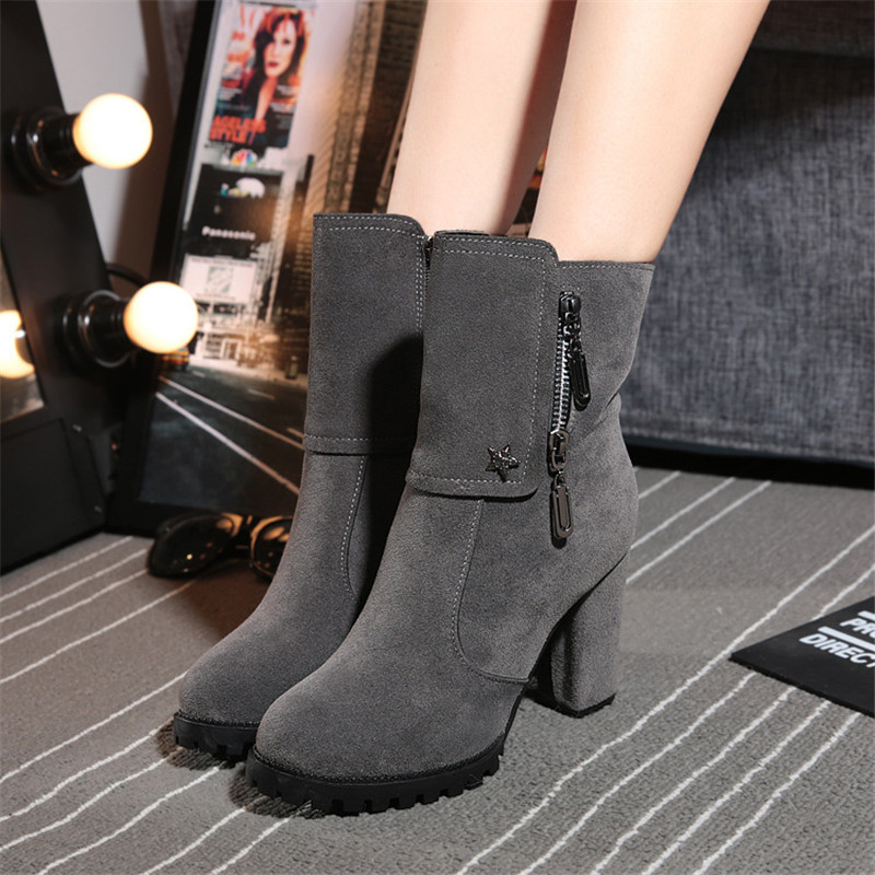 Hemmyi 2017 brand new women boots High Heel 9CM Mid-Calf Boots winter Round toe zipper fashion shoes for woman black/gray double buckle cross straps mid calf boots