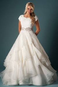 Image 1 - Women Modest Wedding Gown With Sleeves Ball Gown Ruffles Organza Lace With Sash Temple Wedding Dresses With Cap Sleeves