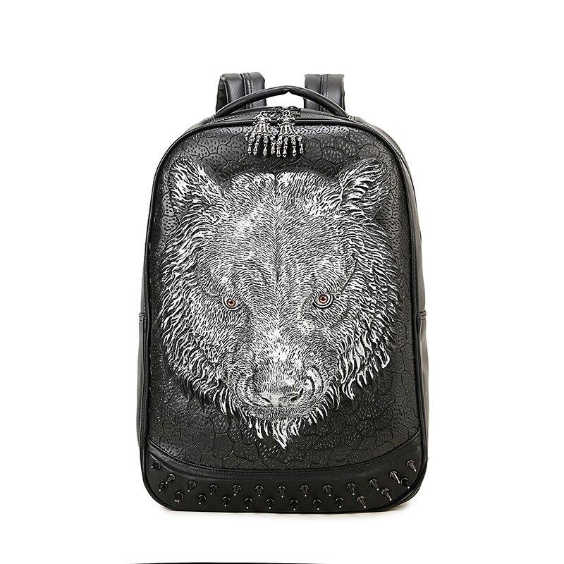 Mode femmes voyage sac à dos 2017 PU cuir 3D tigre sac à dos pour adolescents hommes femmes sac à bandoulière grande capacité sac à dos pour ordinateur portable