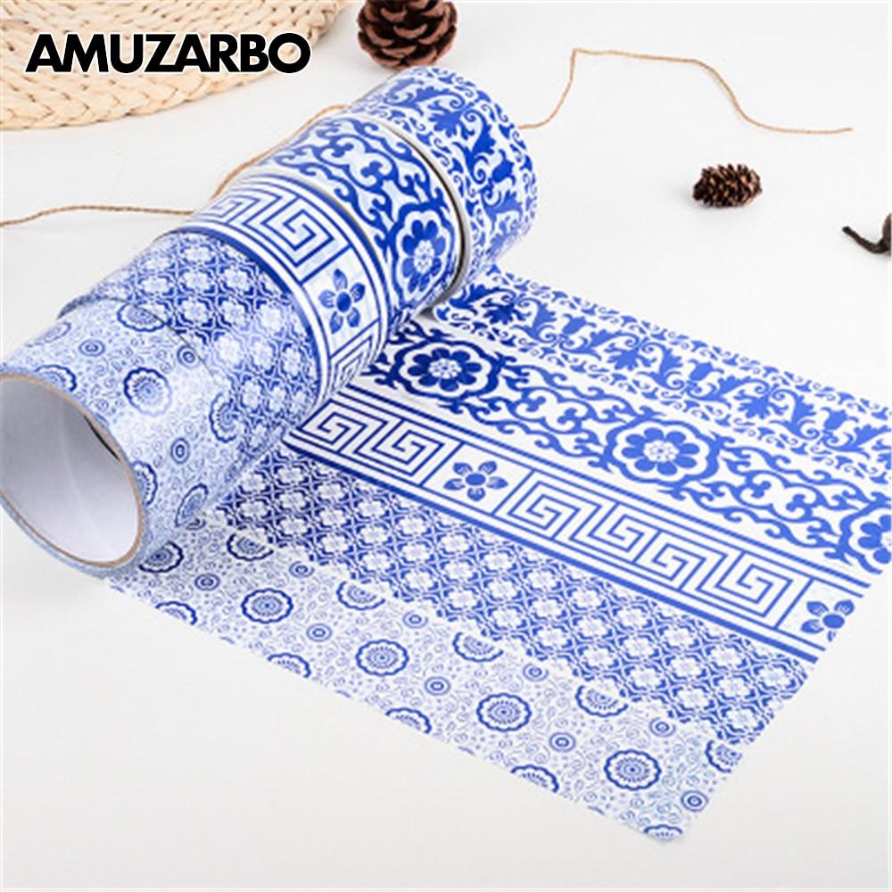 1PCS Blue White Porcelain Texture Self Adhesive Washi Tape DIY Scrapbooking  Label Stickers Photo Album Decorative Masking Tape