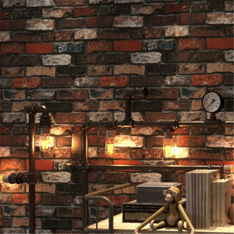 Simulation retro 3D brick waterproof non-woven wallpaper living room bedroom restaurant home decor Brick wallpaper retro nostalgia 3d three dimensional imitation brick wallpaper cafe bar restaurant culture stone red brick wallpaper