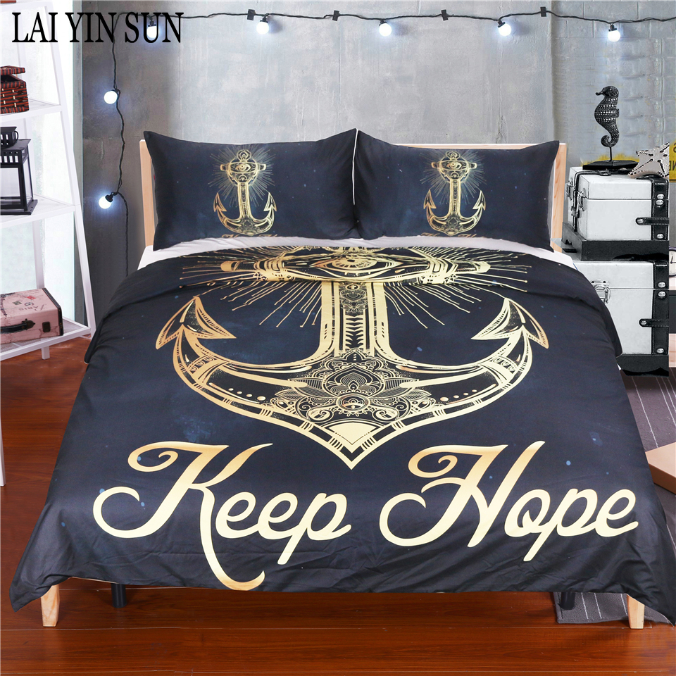 Lai Yin Sun Ship's Anchor Bedding Set Queen Size Dreamcatcher Feathers Duvet Cover Bohemian Printed Bed Cover 3 Pcs